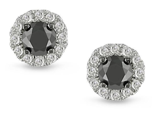 14k White Gold 1/2ct TDW Black Diamond Earrings
