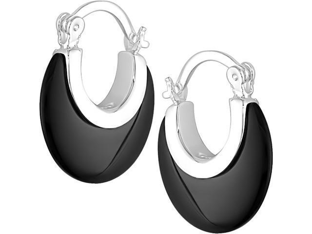 Sterling Silver Black Onyx Round Earrings