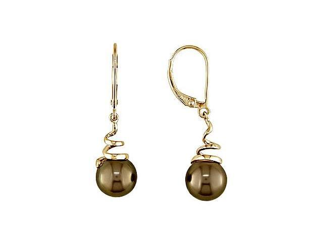 14K Yellow Gold 8-8.5mm Brown Pearl Spiral Drop Lever Back Earrings