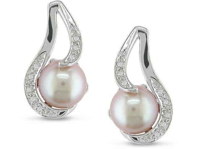 9-10mm Pink Cultured Freshwater Pearl and Diamond Earrings w/Sterling Silver
