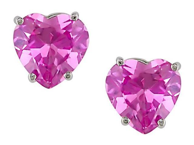 10k White Gold 1 4/5 Carat Created Pink Heart Sapphire Solitaire Earrings
