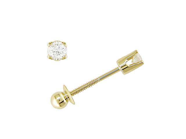 14K Yellow Gold 1/10 ctw Diamond Solitaire Earrings for Baby