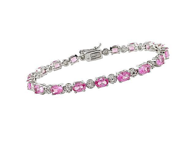 """10 1/4 Carat Pink Sapphire and Diamond Bracelet in Sterling Silver, 7"""""""