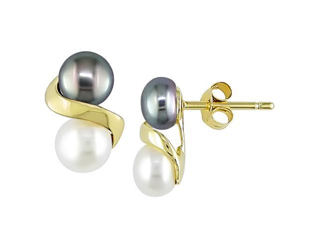 10k Yellow Gold 5.5-6mm Black and White Cultured Freshwater Pearl Earrings