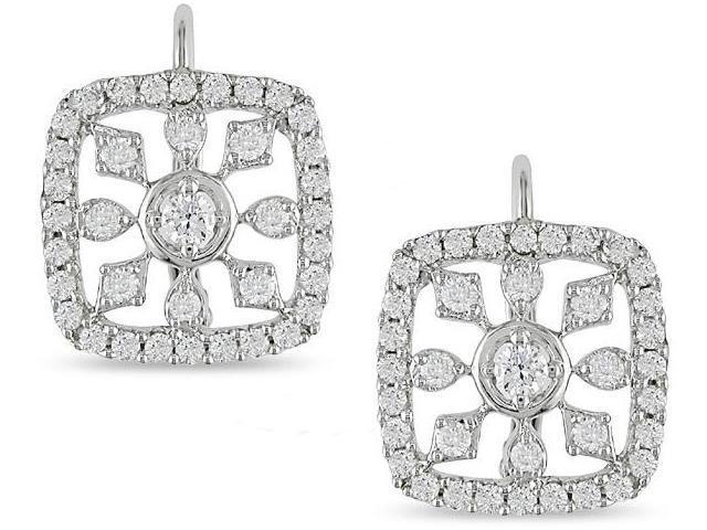 14k Gold 3/4ct TDW Diamond Snowflake Earrings