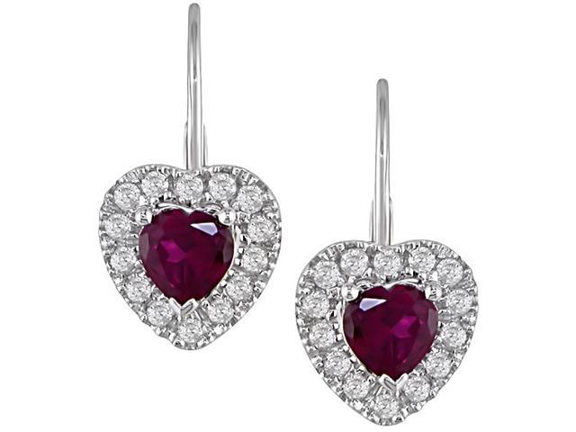 1/6 Carat Diamond and 1 Carat Created Ruby Earrings w/Sterling Silver