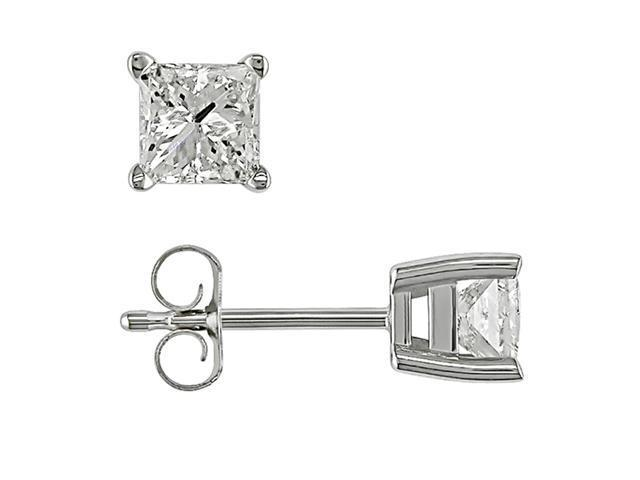 14k White Gold 1 Carat Diamond Earrings (H-I,I1-I2)