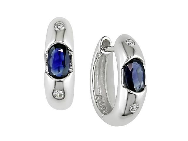10K White Gold .05 ctw Diamond and Sapphire Earrings I-J,I2-I3