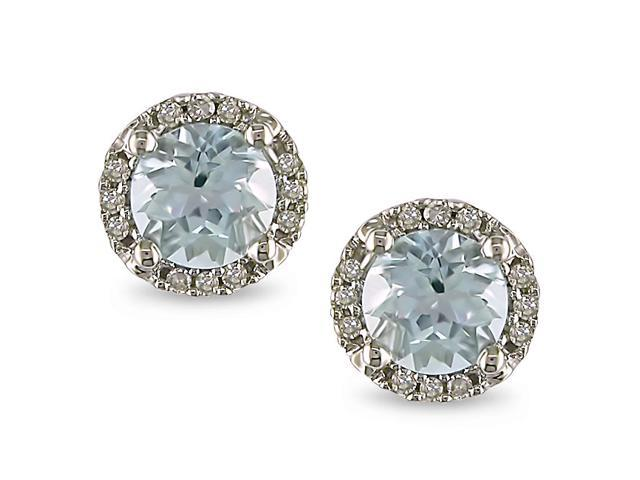 4/5 ct Aquamarine and Diamond Accent Earrings in 10K White Gold