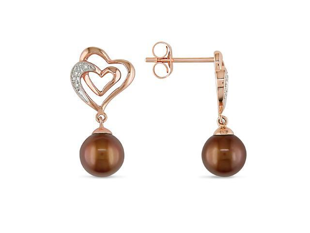10K Pink Gold 6-7mm Cultured Freshwater Brown Pearls and Diamond Accent Earrings
