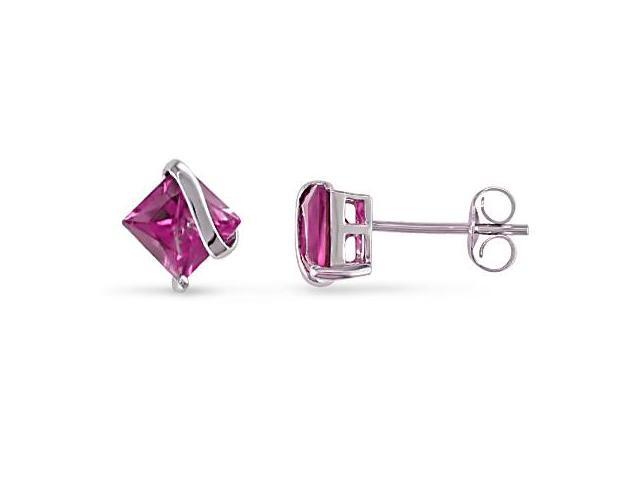 Amour Collections Sterling Silver Created Pink Sapphire Earrings