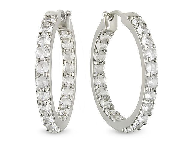 4-4/5 ct.t.w. White Sapphire Hoop Earrings in Silver