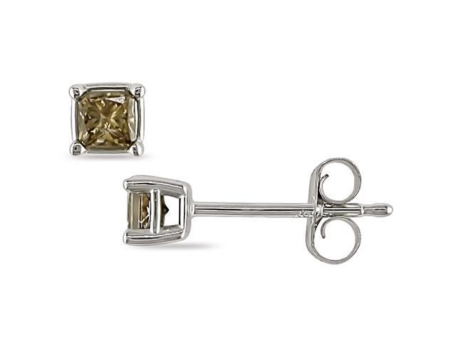 1/4 ct.t.w. Brown Diamond Princess Cut Solitaire Earrings in 10k White Gold
