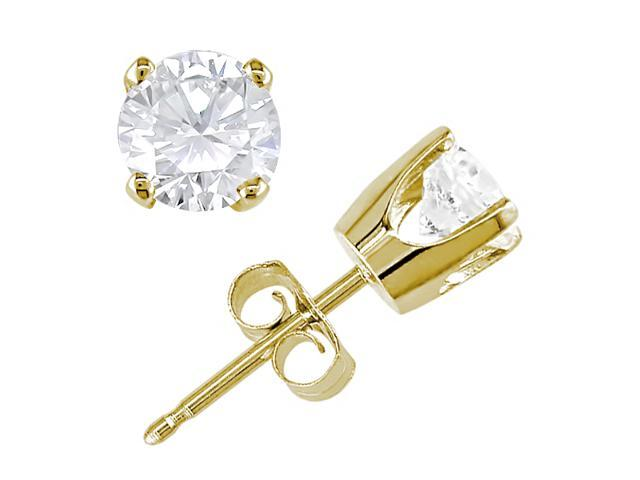14K Yellow Gold 1 ctw Diamond Solitaire Earrings