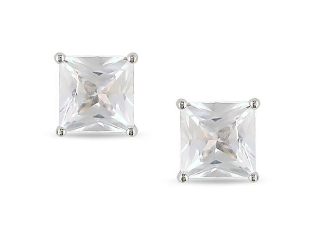 10k White Gold 2ct Square Solitaire White Sapphire Earrings.