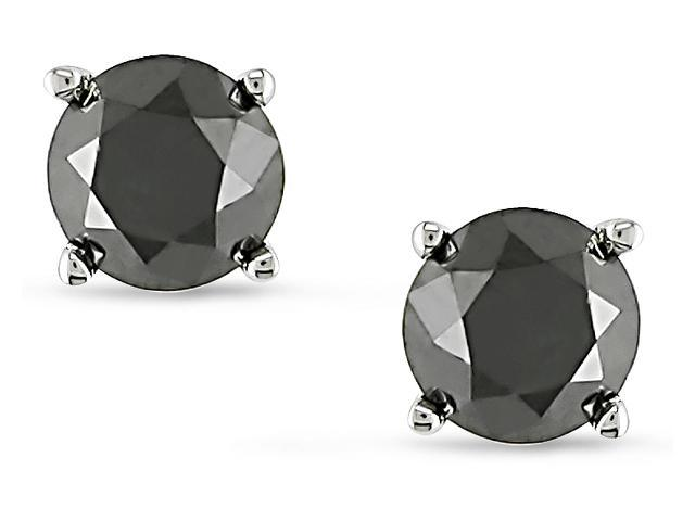 10k Gold 1ct TDW Black Diamond Solitaire Earrings