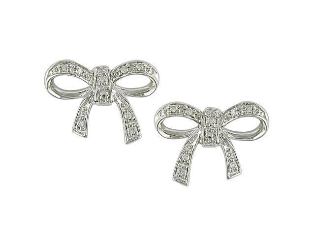 10k White Gold Diamond Bow Earrings