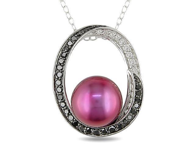 Silver Cranberry Pearl, 1/4ct TDW Diamond Necklace