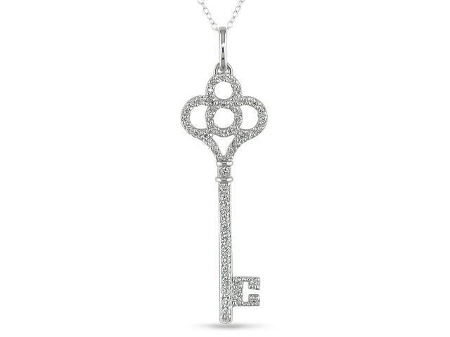 Sterling silver key pendant w/ chain and CZ 1.3-1.8mm