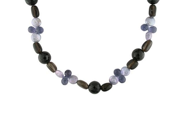 10-11mm Cultured Freshwater Purple Dyed Coin Pearl and Multi-Gemstone Necklace
