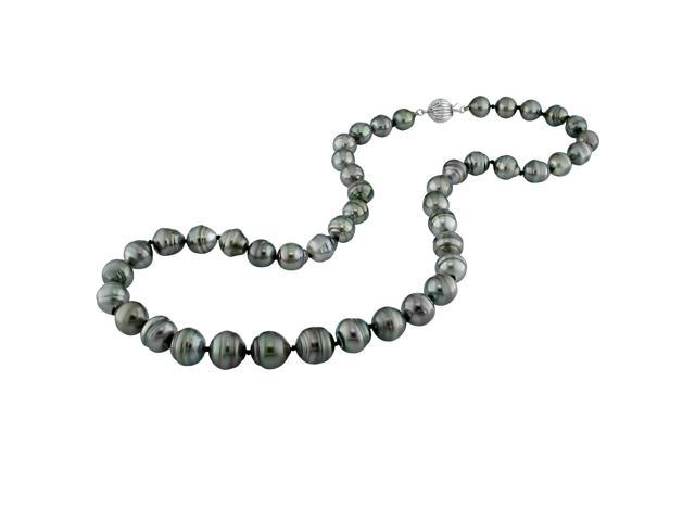 14K White Gold 8-9.5mm Black Tahitian Pearl Necklace