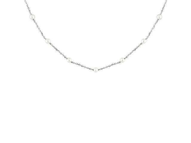 10K White Gold 3.5mm Pearl Tin-Cup Necklace