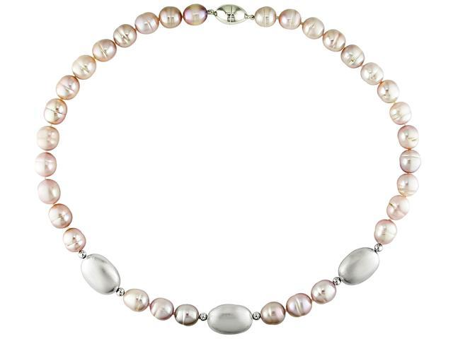 Sterling silver clasp and beads and 10-11mm pink freshwater pearl necklace