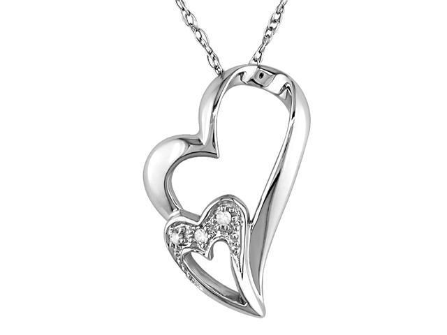 Diamond Double Heart Pendant in 10k White Gold