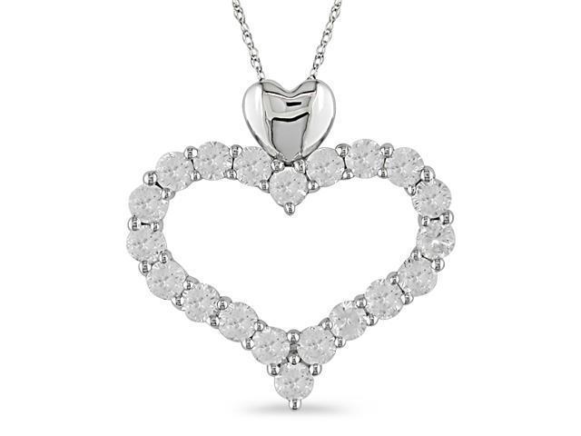 4-1/3 ct.t.w. White Sapphire Heart Shape Pendant in 10k White Gold
