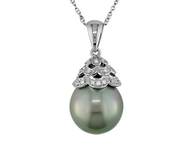 10K White Gold .06 ctw Diamond and 10-11mm Tahitian Pearl Pendant with Chain