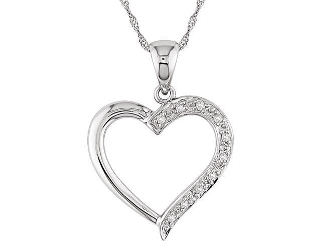 14KW .05CT TDW Heart Pendant w/ Chain (I1-I2), bead set diamonds