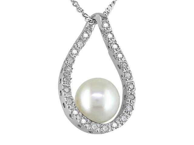Amour  PCDK3989C 14K White Gold 1/10ctw Diamond and 6-7mm cultured Pearl Tear Drop Pendant