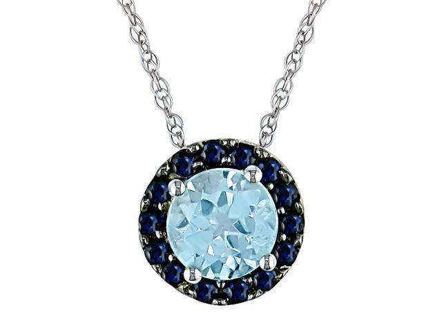 10KW  1-1/4ct TGW 6mm Rd Sky Blue Topaz & 1.5mm Rd Sapphire Pendant w/ Chain