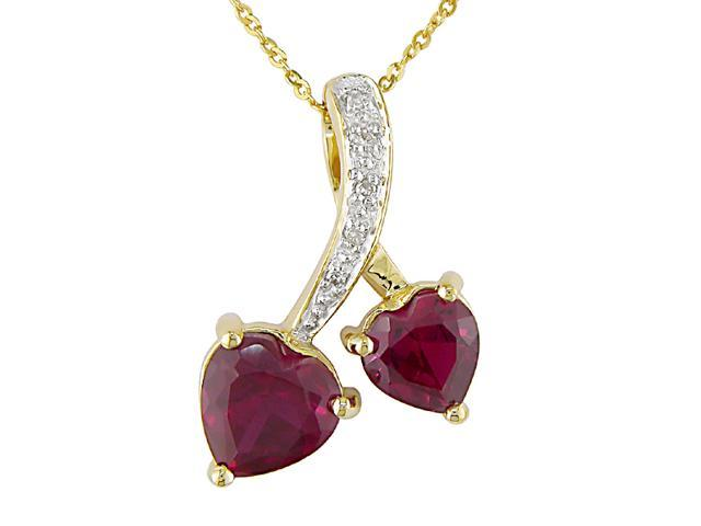 10K Yellow Gold .025 ctw Diamond and Ruby Double Heart Pendant