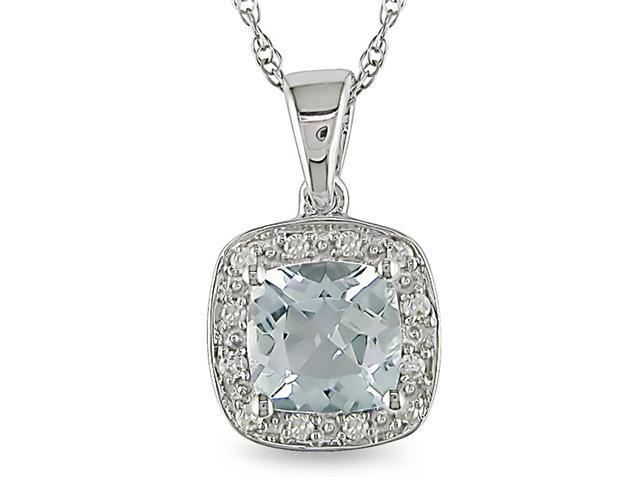 10k White Gold Aquamarine and Diamond Necklace
