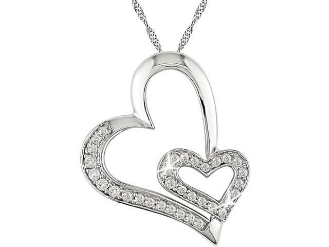 10K White Gold, 1/4 ctw Diamond Double Heart Pendant