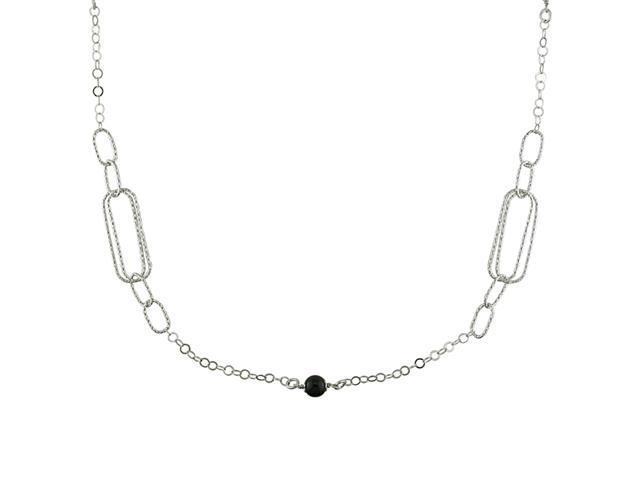 Sterling Silver Fancy Link and Bead Necklace