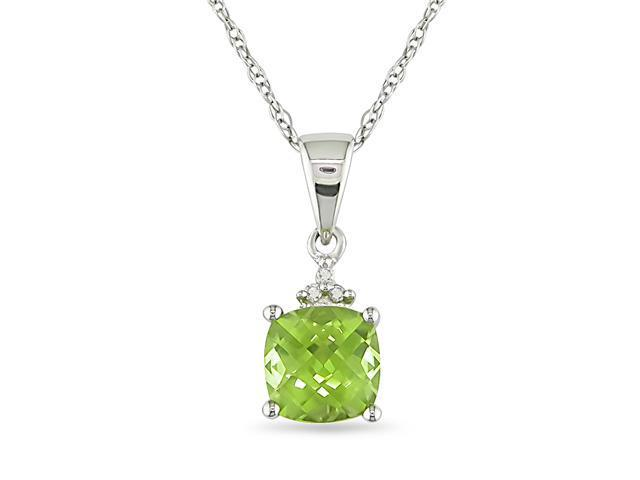10KW .012ct TDW & 7/8ct TGW Cushion Checkerboard 6mm Peridot Pendant