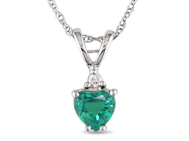 1/3 ctw Heart Shape Created Emerald & Diamond Accent Pendant in 10k White Gold