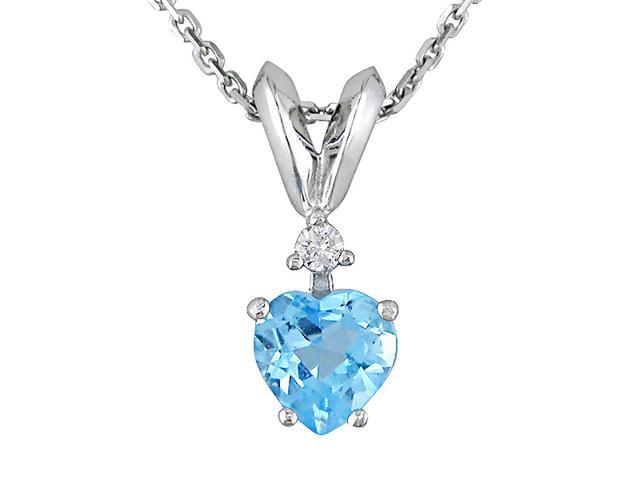 Amour Collections 10K White Gold .02 ctw Diamond and Blue Topaz Heart Pendant