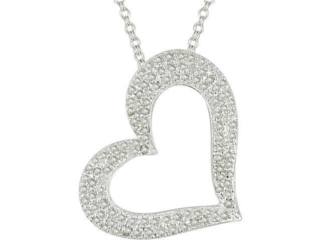 "1 Carat Diamond Heart Pendant in Sterling Silver (J-K,I3), 18"""