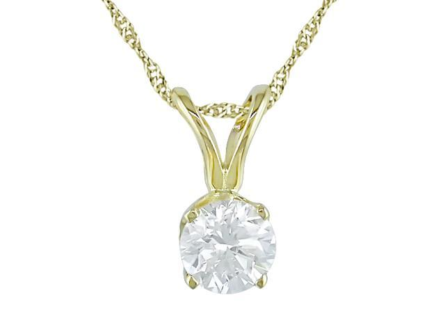 14K Yellow Gold 1/3 ctw Diamond Solitaire Pendant