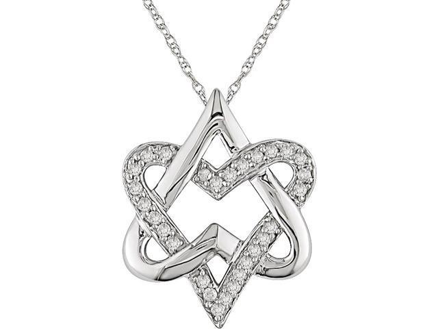 10K White Gold 1/4ct TDW Diamond Heart Pendant