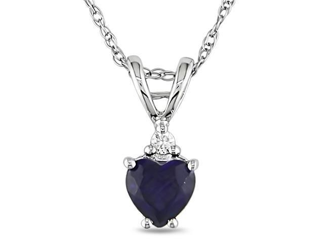 1/2 ctw Heart Shape Created Sapphire & Diamond Accent Pendant in 10k White Gold