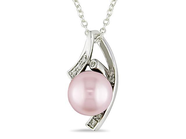 9-9.5 mm Pink Freshwater Pearl and Diamond Accent Pendant in Silver, I3