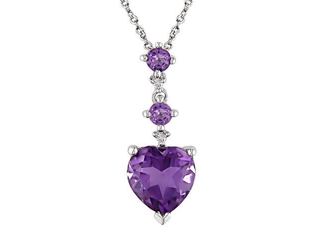 Amethyst and Diamond Accent Heart Pendant in 10k White Gold