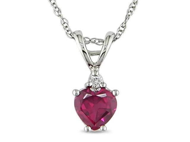 3/4 ct.t.w. Heart Shape Ruby and Diamond Accent Pendant in 10k White Gold, I1-I2