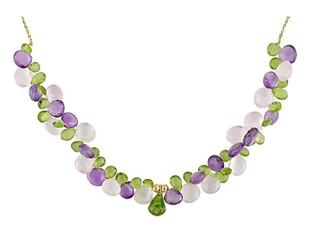 14KY briolet rose quartz, peridot and amethyst necklace