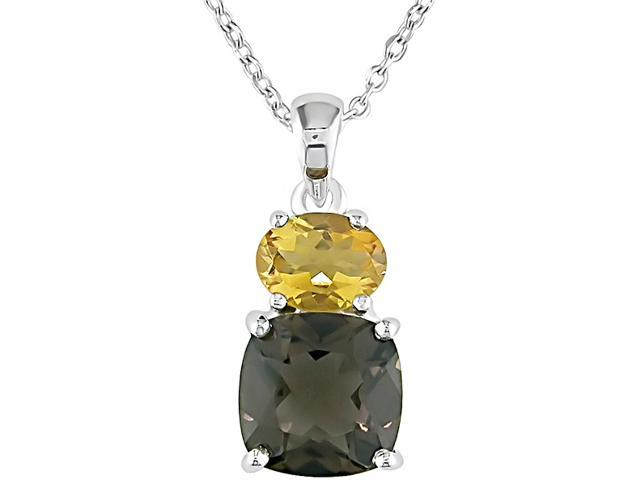 Amour Collections Sterling Silver Smokey Quartz and Citrine Pendant