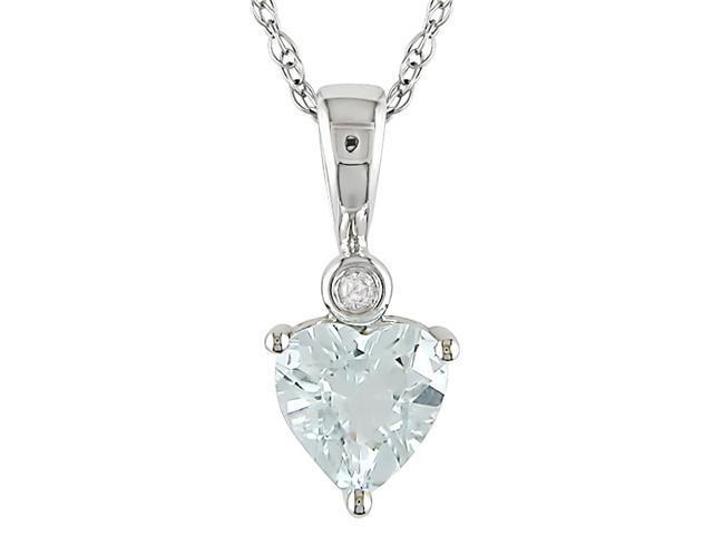 10k White Gold Aquamarine and Diamond Necklace